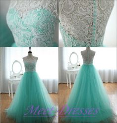 Vintage White Lace Evening Dress Long Tulle Formal Gown Blue Party Prom Dresses For Teens - Thumbnail 2