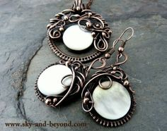 Moon Shadow  Copper Earrings Pendant and Necklace by SkyAndBeyond, $148.00