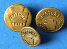 3 KEYSTONE styles - Work Clothes Overalls Buttons Antique vintage