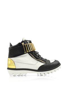Giuseppe Zanotti Sneaker High-top da Donna in Pelle Bianco Ottico, Nero e Oro