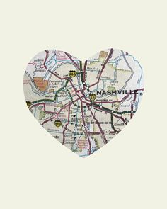 Nashville Tennessee Art City Heart Map - Wood Block Art Print. $39.00, via Etsy.