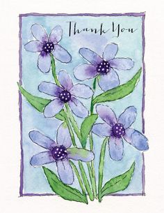 thank you cards - Watercolor Flowers at Minted.