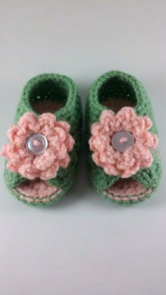 Peach and Green Crochet Baby Cross Strap Spring Sandals by HandmadeReverie