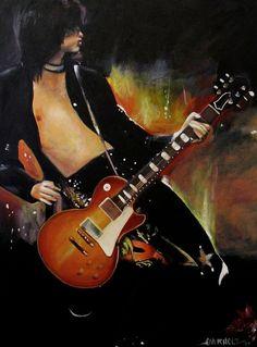 """Jimmy Page - """"Celebration Day"""", original acrylic on canvas portrait by Kim Overholt."""