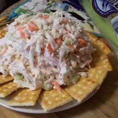 Crab Salad Recipe : 1 pound imitation crab meat, shredded (picked apart) cup celery, finely chopped cup Hidden Valley Lite ranch dressing (preferred brand) cup Hellmann's mayonnaise (preferred brand) 1 tsp parsely, minced fresh or dried 1 tbsp sugar Sea Food Salad Recipes, Fish Recipes, Seafood Recipes, Cooking Recipes, Crab Salad Recipe Healthy, Cooking Tips, Seafood Appetizers, Seafood Salad, Seafood Dishes