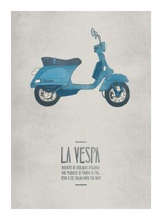 """La Vespa"" by illustrator Emily Isles. I won't quibble about THIS Vespa likely not having been designed by Corradino D'Ascanio because the poster's still cute. Graphic Design Illustration, Illustration Art, Lambretta, Posters Vintage, Italian Posters, Foto Transfer, Graphisches Design, Chair Design, Photo Vintage"