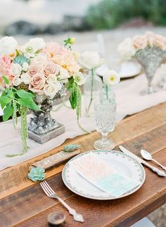 Aqua and peach seaside wedding inspiration peach wedding Seaside Wedding, Nautical Wedding, Beach Weddings, Table Setting Inspiration, Wedding Inspiration, Wedding Ideas, Wedding Centerpieces, Wedding Decorations, Table Decorations