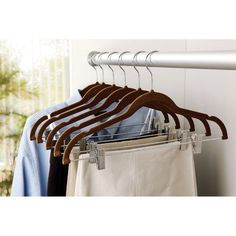 Non Slip Velvet Clothes Hangers Flocked Clips 6 Pack Skirts Pants Closet Black #Simplify