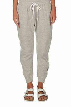 fleece zip track pant grey marl | bassike