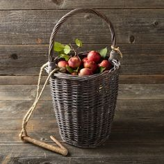Harvest Basket with Hook - For more Farmhouse Orchards and Groves... http://www.pinterest.com/bluebirdmarket/farmhouse-orchards-and-groves/