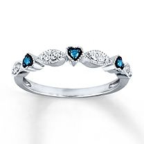 1/8 ct tw Blue & White Diamond Ring Round-Cut Sterling Silver