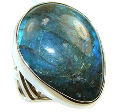 $98.25 Big! Awesome Blue Labradorite Sterling Silver ring s. 7 - Adjustable at www.SilverRushStyle.com #ring #handmade #jewelry #silver #labradorite