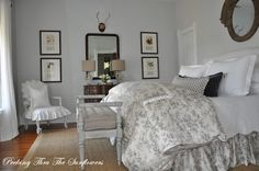 Peeking thru The Sunflowers: Paint Colors moonshine ben moore Dream Bedroom, Home Bedroom, Bedroom Decor, Bedroom Ideas, Cottage Bedrooms, Bedroom Retreat, Bedroom Designs, Copper Bed, Savvy Southern Style