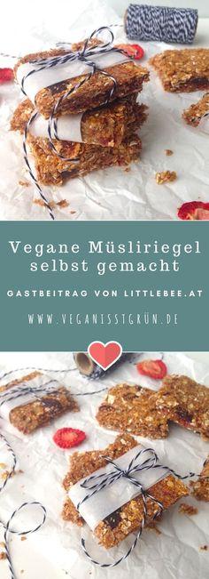 Müsliriegel einfach selbst machen - einfaches Rezept für gesunde, vegan Müslischnitten ohne Zucker Perfekter Energieboost zwischendurch, als Snack oder für die Schuljause; Frühstücksidee für BLW