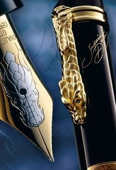Mont Blanc Imperial Dragon Limited Edition 888 fountain pen, with 18 karat gold nib and sapphires in the dragon's eyes.
