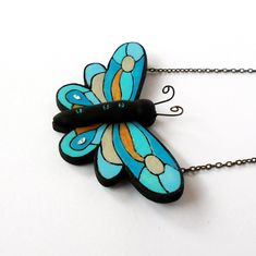 Blue butterfly necklace, Statement necklace, Butterfly bib necklace, Insect pendant made with polymer clay and Swarovski elements. Polymer Clay Creations, Polymer Clay Art, Polymer Clay Jewelry, Book Lovers Gifts, Gift For Lover, Cute Gifts For Her, Book Necklace, Book Jewelry, Handmade Books