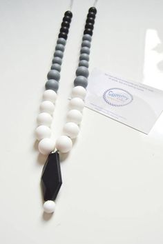 Silicone Teether Feather Pendant Chewing Bead Necklace Teething Pacifier   LP