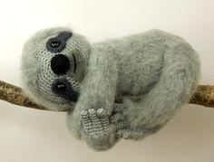 Slocombe the sloth amigurumi crochet pattern by Moji-Moji Design