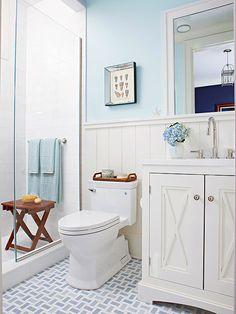 Bathroom Tour: Blue & White Cottage Style Possible master bath alternative to corner medicine cabinet