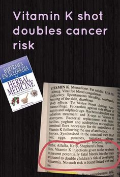Vit K doubles cancer risk