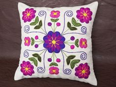 Peruvian Pillow cover Hand embroidered flowers 16 x Sheep & alpaca wool handmade Cream Ethnic Boho Cushion Pillow Embroidery, Hand Embroidery Flowers, Embroidery Motifs, Embroidered Flowers, Machine Embroidery, Embroidery Designs, Mexican Embroidery, Fabric Painting, Needlepoint