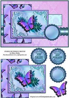 Purple Butterfly Sketch on Craftsuprint designed by Hilary Hallas - An A5 tentfold card front with an extra layer and choice of sentiments tags. Another in my series of cards made using the same sketch or outline. This is a very pretty female card. - Now available for download!