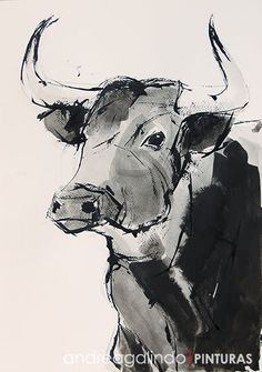Bull Painting, Ink Painting, Indian Paintings, Animal Paintings, Cow Drawing, Abstract Face Art, Tree Sketches, Farm Art, Cute Cows