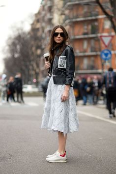leather jacket and tulle fluffy skirt!  OMG edgy motorcycle femme style  Viva Italia: Street Style From Milan - HarpersBAZAAR.com