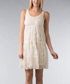 Natural Crochet Sleeveless Dress by Nouveau Monde #zulily #zulilyfinds