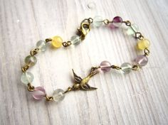 Lauren Vintage Swallow Bracelet in Rainbow by GMAjewellery on Etsy, £22.00