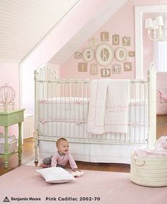 Benjamin Moore Pink Cadillac - this is what Holly wants in her room. Her furniture is a vanilla white from Havertys'
