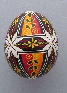 Pysanka, Real Ukrainian Easter Egg Hen Chicken Shell, Geometric Design, E24