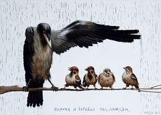 Kovalevsky, Sergey - Raven Sheltering Sparrows, 1989