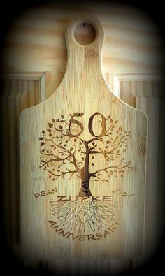 5th Anniversary, 25th Anniversary, 50th Anniversary, Cutting Board, Engraved Anniversary Tree, Personalized With Handle
