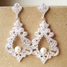 Bridal Chandelier Earrings, Statement Wedding Earrings, Vintage Style Wedding Bridal Jewelry, Victorian Style Bridal Earrings, ODETTE. $65.00, via Etsy. More