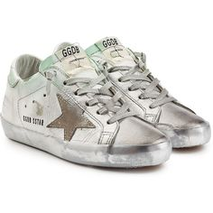 Golden Goose Super Star Leather and Suede Sneakers ($370) ❤ liked on Polyvore featuring shoes, sneakers, silver, distressed sneaker, metallic sneakers, pastel sneakers, star sneakers and distressed leather shoes