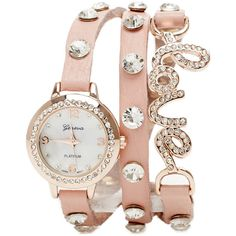 Love Wrap Watch (94 BRL) ❤ liked on Polyvore featuring jewelry, watches, bracelets, accessories, relógios, peach, rhinestone watches, wrap watch, rhinestone jewelry and 2b bebe