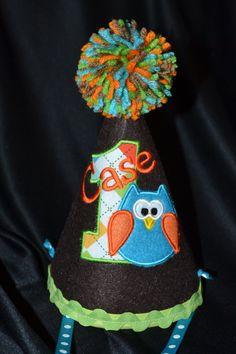 Owl Boy 1st Birthday Birthday Party Hat With by sunshinedaydream4u, $27.95