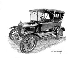 pen & ink drawings of vintage Fords Antique Ford sedans old Fords. 1922 Ford touring sedans black & white Ford art pen & ink drawings of Fords metal prints of Fords Fords on Tee shirts old Ford artwork Vintage Jeep, Vintage Cars, Antique Cars, Cool Car Drawings, Ink Pen Drawings, Large Wall Stickers, Hulk Art, Pyrography Patterns, Vintage Drawing