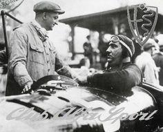 Enzo Ferrari e Giuseppe Campari (al volante).