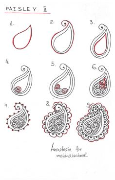 How to draw indian mehndi henna paisley. Small tutorial. DIY