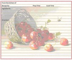 Cherry Recipe Card Freebie