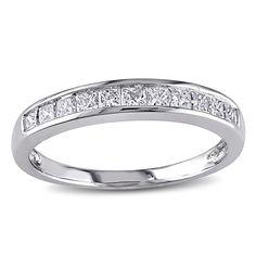 Princess-cut diamond, 14-karat white gold anniversary ring. Gift box included. $638.99