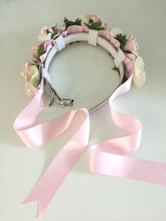 Pastel Pink Rose Flower Dog Collar for Weddings by CupidCollars