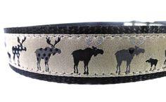Black Moose dog collar/ flowers dog collar/ by WoofCoutureInt