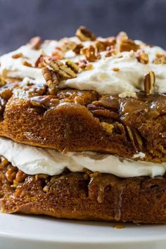 This Pumpkin Praline Torte from Spicy Southern Kitchen is flavored with rich, delicious fall spices and a sweet and crunchy praline topping! Pumpkin Cake Recipes, Pumpkin Dessert, Pumpkin Cheesecake, Pumpkin Pumpkin, Pumpkin Spice, Fall Desserts, Just Desserts, Delicious Desserts, Dessert Recipes