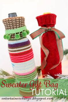 Add a personal touch to your hostess gifts my making these sweater wine bottle gift bags using old sweaters. This tutorial is clear and beginner-friendly