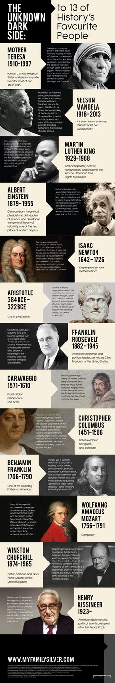 EVERYONE has a dark side: The Darkside of 13 of History's Favourite People Infographic Pseudo Science, Historia Universal, Cultura General, Interesting History, World History, Nasa History, History Facts, History Quotes, Funny History