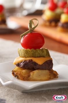 Mini Cheeseburgers on the Fry - How cute are these small-bite cheeseburger creations that take waffle fries to a whole new level?