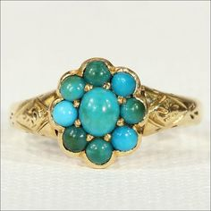 Antique Victorian Turquoise Cluster Ring in by VictoriaSterling $600